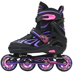 Patins Oxer Pixel - In Line - Fitness - ABEC 7 - Ajustável - Adulto - PRETO/ROXO