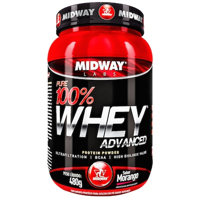 Whey Protein Midway Pure 100% Whey Advanced - Morango - 480g