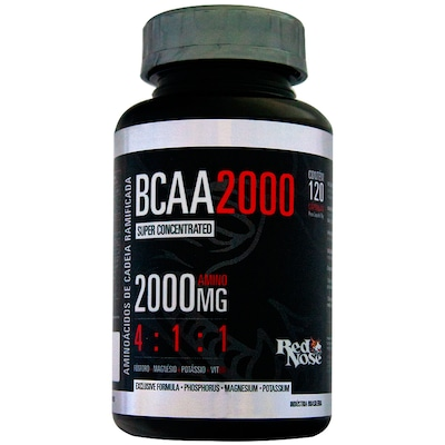 BCAA 4:1:1 2000 mg - 120 Cápsulas – Sem Sabor – Red Nose