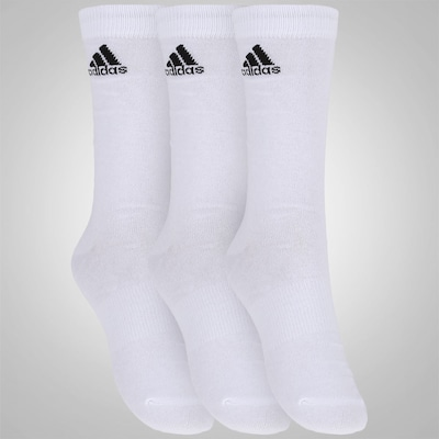 Kit de Meias adidas Crew Thin com 3 Pares - Adulto