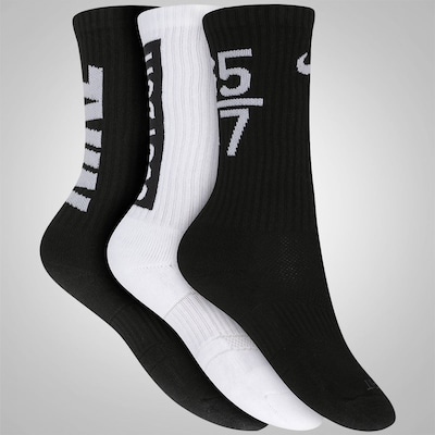 Kit de Meia Nike Dri Fit Fly V4 Crew com 3 Pares - Adulto