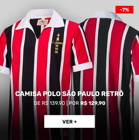 Camisa-Polo-do-São-Paulo-Retrô-Gol-Tri-Libertadores-92/93/05-Torcedor---Masculina