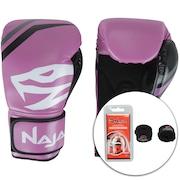 Kit de Boxe Naja: Bandagem + Protetor Bucal + Luvas de Boxe First - 12 OZ - Adulto