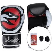 Kit de Boxe Naja: Bandagem + Protetor Bucal + Luvas de Boxe OPP - 10 OZ - Adulto