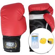 Kit de Boxe Punch: Bandagem + Protetor Bucal + Luvas de Boxe PU121 - 12 OZ - Adulto