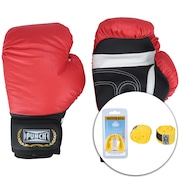 Kit de Boxe Punch: Bandagem + Protetor Bucal + Luvas de Boxe PU122 - 10 OZ - Adulto