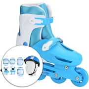 Kit Patins Spin Roller: Patins Ajustável + Capacete + 2 Joelheiras + 2 Cotoveleiras + 2 Munhequeiras