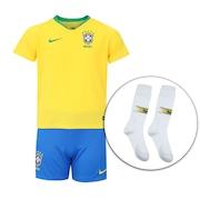 Kit de Uniforme de Futebol da Seleção Brasileira I 2018 Nike  Camisa +  Calção + Meião - Juvenil 19c631dbd2636