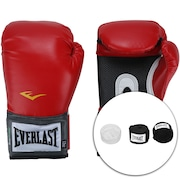 Kit de Boxe Everlast: Bandagem + Protetor Bucal + Luvas de Boxe Training - 12 OZ - Adulto