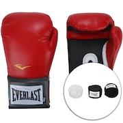 Kit de Boxe Everlast: Bandagem + Protetor Bucal + Luvas de Boxe Training - 14 OZ - Adulto