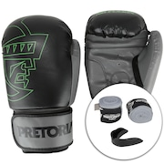644c2940f Kit Boxe Muay Thai Pretorian  Bandagem + Protetor Bucal + Luvas First - 14  OZ - Adulto