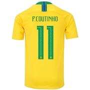 66f97cd314 Camisa da Seleção Brasileira I 2018 Nike nº 11 Philippe Coutinho - Juvenil