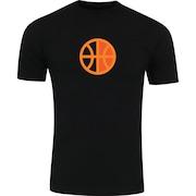 Camiseta Adams Básica Futebol - Masculina - Preto - Bola Basquete Laranja