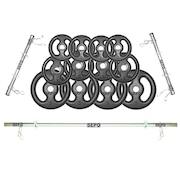 Kit para Halteres e Supino Sepo: 3 Barras para Musculação + 12 Anilhas - 40Kg