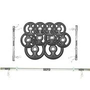 Kit para Halteres e Supino Sepo: 3 Barras para Musculação + 10 Anilhas - 30Kg