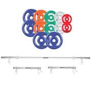 Kit para Halteres e Supino Sepo: 2 Barras de 40cm+ 1 Barra de 150cm + 12 Anilhas Emborrachadas- 40Kg