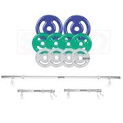 Kit para Halteres e Supino Sepo: 3 Barras de Musculação + 10 Anilhas Emborrachadas - 30Kg