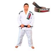 Kit Brazil Combat com Kimono Jiu Jitsu Xtra Lite Branco + Faixa Marrom Jiu Jitsu