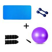 Kit Natural Fitness Colchonete + Par de Halter 1kg + Par de Caneleira Tornozeleira 2kg + Bola Suíça