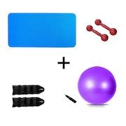 Kit Natural Fitness Colchonete + Par de Halter 2kg + Par de Caneleira Tornozeleira 1kg + Bola Suíça