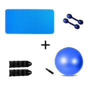 Kit Natural Fitness Colchonete + Par de Halter 1kg + Par de Caneleira Tornozeleira 1kg + Bola Suíça