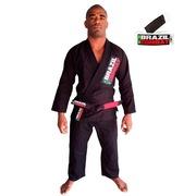 Kit Kimono Jiu Jitsu Starter Preto + Faixa Branca Jiu Jitsu Brazil Combat