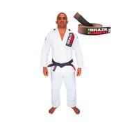 Kimono de Jiu-JItsu Brazil Combat Xtra-Lite Branco com Faixa Marrom