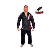 Kimono de Jiu-JItsu Brazil Combat Xtra-Lite Preto com Faixa Branco