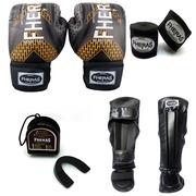 Kit de Lutas Fheras Top Iron com Luvas de Boxe + Bandagem + Protetor Bucal com Estojo + Caneleira