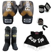 Kit de Lutas Fheras Top  Luvas de Boxe + Caneleira + Protetor Bucal + Short  + Bandagem - 3 ae903eeccfc4c