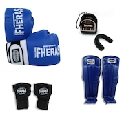 Kit Boxe Muay Thai Fheras Orion - Luva + Bandagem + Bucal + Caneleira