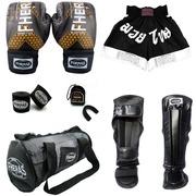 Kit de Luvas Fheras Top Iron com Luva de Boxe + Bandagem + Bucal + Caneleira + Shorts + Bolsa