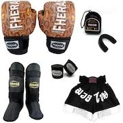 Kit de Muay Thai Fheras Top Cobra 2 com Luva de Muay Thai + Bandagem + Bucal + Caneleira + Shorts