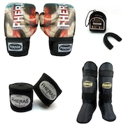 848cdaae50e2f Kit Boxe Muay Thai Fheras Top Bandeira - Luva + Bandagem + Bucal + Caneleira  Free