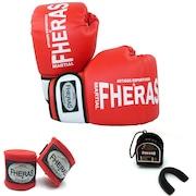 Kit de Boxe Fheras Orion com Luva + Caneleira + Bandagem - 3,5m + Protetor Bucal