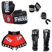 d3757e716 Kit de Lutas Fheras  Luvas de Boxe + Bucal + Shorts + Caneleira + Bandagem