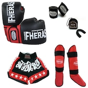 Kit de Lutas Fheras Muay Thai com Luva de Boxe + Bandagem + Bucal com Estojo + Caneleira + Shorts