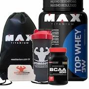 Whey Protein 3W Max Titanium Top - Baunilha - 900g + BCAA + Porta Cápsulas + Gyn Sack + Coqueteleira