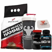 Whey Protein Isolado Body Action Muscle Hammer - Chocolate - 900g + BCAA + Creatina + Coqueteleira