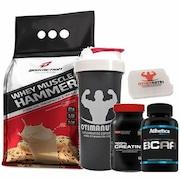 Combo - Whey Muscle Hammer 900g Cookies e Cream + Bcaa 120 tabs + Creatina + Porta Caps + Coqueteleira - Body Action