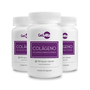 Colágeno Hidrolisado Gelvitta com Vitaminas e Minerais - 60 Cápsulas - 3 Frascos