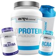 2a0a576cb Whey Protein Isolada BRN Foods - Morango - 900g + Creatina - 300g + BCAA -