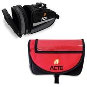 Bolsa de Guidão para Bicicleta Acte Sports A26 + Bolsa para Selim Acte A24