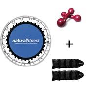 Cama Elástica Natural Fitness Mini Jump I + Caneleira de Peso - 2kg  + Par de Halter - 3kg