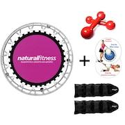 Cama Elástica Natural Fitness Mini Jump II + Caneleira de Peso - 2kg  + Par de Halter - 3kg