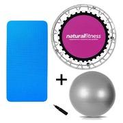 Cama Elástica Natural Fitness Mini Jump + Bola Suíça - 75cm + Tapete EVA de Yoga - 100 x 50 x 1cm