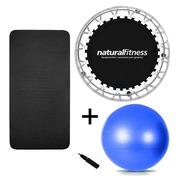 Cama Elástica Natural Fitness Mini Jump + Bola Suíça - 65cm + Tapete EVA de Yoga - 100 x 50 x 1 cm