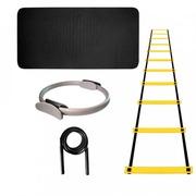 Tapete de Yoga Natural Fitness EVA - 10mm + Corda PVC + Escada Agilidade EVA + Anel Pilates Flex