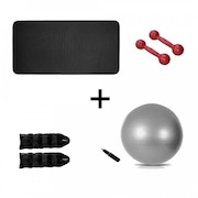 Tapete de Yoga Natural Fitness EVA - 10mm + Par de Halter - 2kg + Par de Caneleira - 2kg + Bola Suíça - 75cm