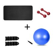 Tapete de Yoga Natural Fitness EVA - 10mm + Par de Halter - 2kg + Par de Caneleira - 2kg + Bola Suíça - 65cm
